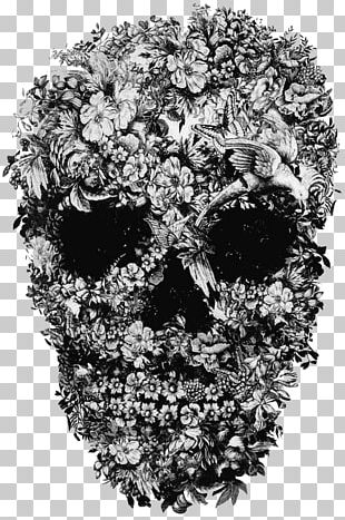 Skull Flower Printing Art PNG