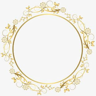 Round Floral Shadows French Border S PNG