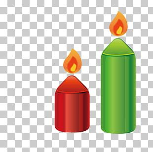 Red Christmas Candle Green PNG