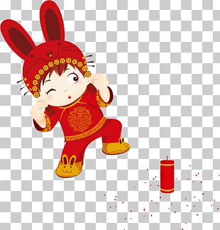 Chinese New Year Firecracker Lion Dance PNG