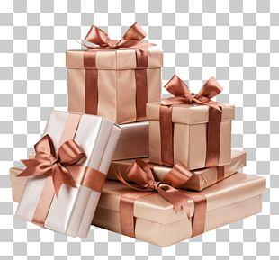 Decorative Box Gift Ribbon Gold PNG