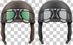 0506147919 Leather Helmet Flight Helmet Hat Aviator Sunglasses PNG