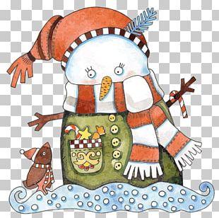Christmas Snowman Cartoon Illustration PNG