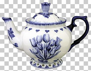 Blue And White Pottery Kettle Teapot Porcelain Delftware PNG
