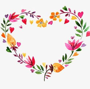 Valentine's Day Heart-shaped Wreath PNG