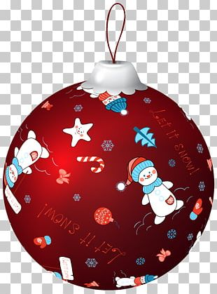 Red Christmas Ball With Snowman PNG