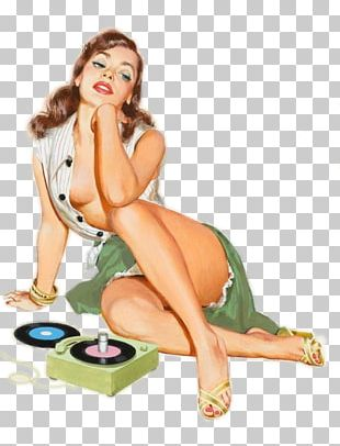 Pin-up Girl Retro Style Illustration Phonograph Record PNG
