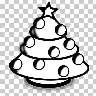 Santa Claus Christmas Tree Black And White PNG