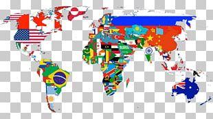 Globe World Map Flag PNG