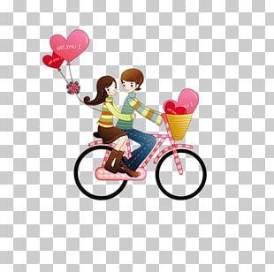 Cartoon Couple Cyclist PNG