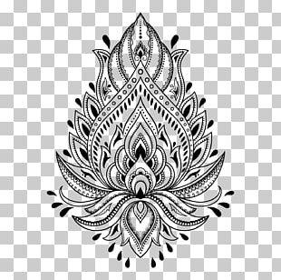 Henna Tattoo Mehndi Stencil Template PNG