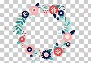 Typography Flower Wreath PNG