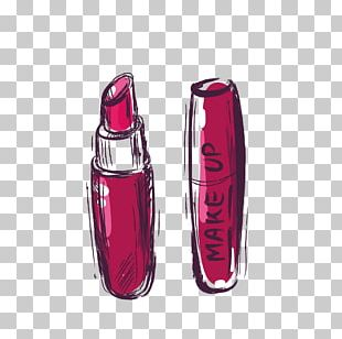 Lipstick Watercolor Painting Cosmetics PNG