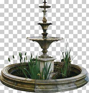Fountain Flower Garden Bench PNG