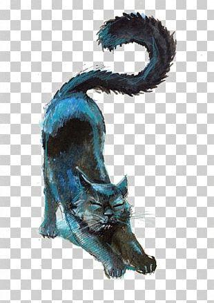 Black Cat Kitten Drawing Pencil PNG