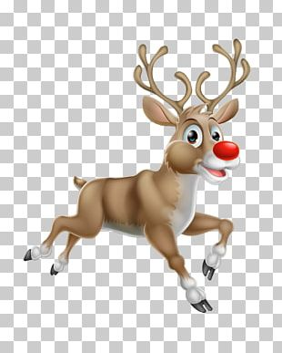 Rudolph Reindeer Santa Claus Illustration PNG