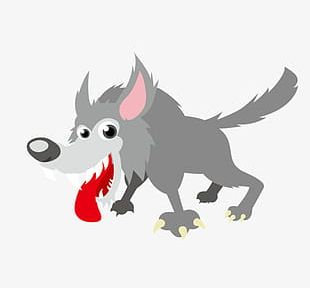 Cartoon Hand-painted Wolf PNG