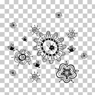 Flower Phonograph Record Wall Drawing Painting PNG