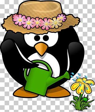 Penguin Gardening Watering Can PNG