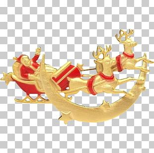 Reindeer Gold Christmas Ornament PNG