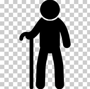Old Age Walking Stick Silhouette Man PNG