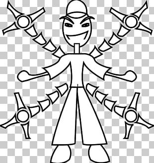 Black And White Line Art Robot PNG