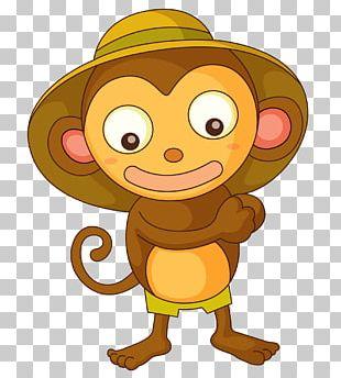 Chimpanzee Monkey Cartoon Drawing Illustration PNG