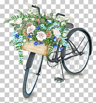 Bicycle Basket Flower Drawing Stock Illustration PNG