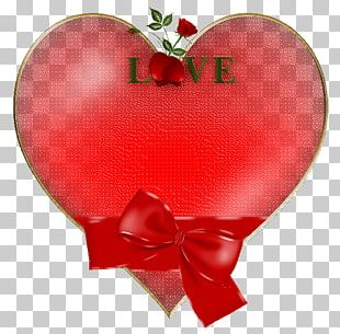 Red Hearts With Bow And Rose PNG