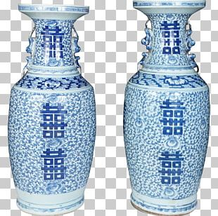 Vase Cobalt Blue Glass Blue And White Pottery PNG