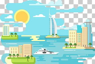 Beach Flat Design Illustration PNG