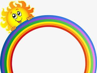 Cartoon Painted Rainbow PNG