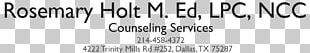 Counseling Psychology Rosemary Holt Counseling Mental Health Counselor Licensed Professional Counselor Therapy PNG