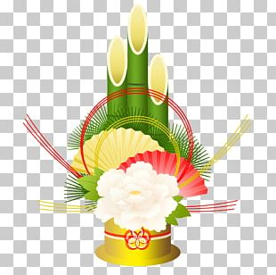Kadomatsu Floral Design Japanese New Year Shimenawa Hagoita PNG