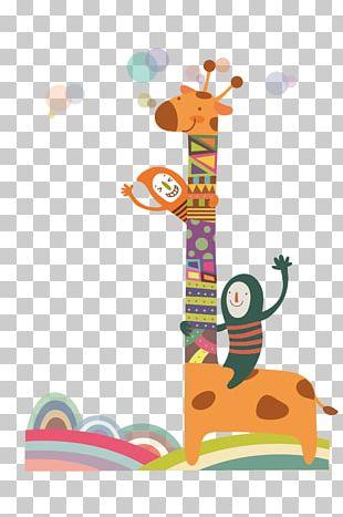 Giraffe Cartoon Child Illustration PNG