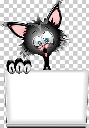 Black Cat Kitten Cartoon PNG