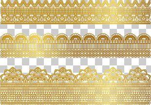 Lace Gold Textile Ribbon PNG