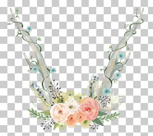 Watercolour Flowers Watercolor Painting Antler PNG