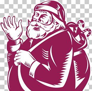 Santa Claus Woodcut Illustration PNG