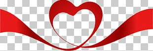 Red Heart Ribbon Valentine's Day PNG