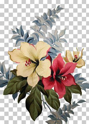 Flower Hibiscus Barkcloth Textile Floral Design PNG