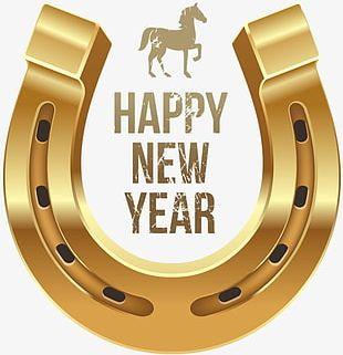 Happy New Year Metallic Horseshoe PNG