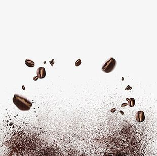 Splash Of Coffee Beans PNG
