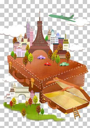 Suitcase Travel Cartoon Illustration PNG