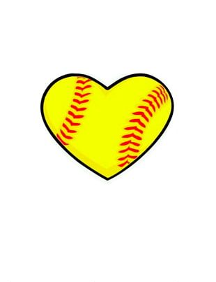 Softball Heart Baseball Sport PNG