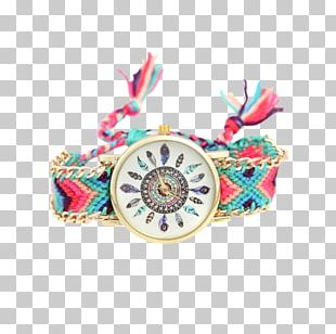 Turquoise Dreamcatcher Dial Watch Clock PNG