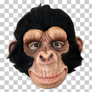 Chimpanzee Ape Latex Mask Halloween Costume PNG