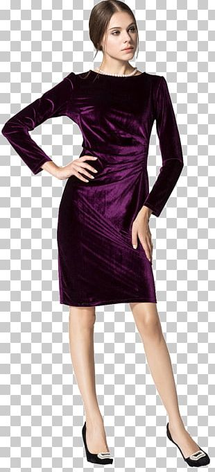Velvet Dress Long-sleeved T-shirt Evening Gown PNG