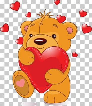 Teddy Bear Valentine's Day Heart PNG