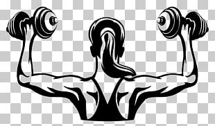 Physical Fitness Logo Fitness Centre Woman Dumbbell PNG